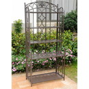 International Caravan Iron 5-Tier Bakers Rack-Antique Black/Rustic Brown-Antique Black/Rustic Brown