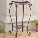 International Caravan Iron Square Plant Stand-Bronze/Verdi Green