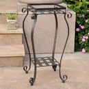 International Caravan Iron Square Plant Stand-Antique Black/Rustic Brown