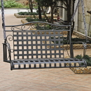 International Caravan Mandalay Iron Hanging Swing-Antique Black/Rustic Brown