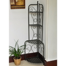 International Caravan Mandalay Iron Folding Corner Bakers Rack-Antique Black/Rustic Brown