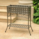 International Caravan Mandalay Iron Rectangular Plant Stand-Antique Black/Rustic Brown