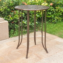 International Caravan Mandalay Iron Bar Height Round Table-Bronze/Verdi Green