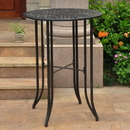 International Caravan Mandalay Iron Bar Height Round Table-Antique Black/Rustic Brown