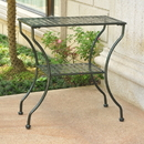 International Caravan Mandalay Iron Rectangular 2 Tier Table-Bronze/Verdi Green
