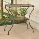 International Caravan Mandalay Iron Rectangular 2 Tier Table-Antique Black/Rustic Brown
