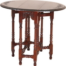 International Caravan 3821 Carved Wood Oval Fold-Out Table, Brown Stain
