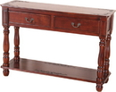 International Caravan 3822 Carved Two Drawer Console Table, Brown Stain
