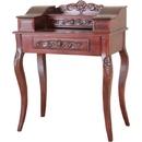 International Caravan 3840 Carved Wood Two Drawer Telephone Table