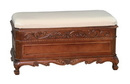 International Caravan 3857 Carved Wood Trunk-Bench with Cushion Top, Brown Stain