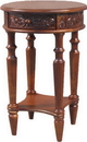 International Caravan 3860 Carved Wood Round Table, Brown Stain