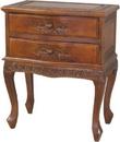 International Caravan 3864 Carved Wood Two Drawer Table, Brown Stain