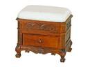 International Caravan 3872 Upholstered Vanity Stool with One Drawer, Brown Stain
