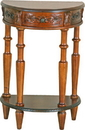 International Caravan 3889 Carved Small 1/2 Moon 2-Tier Wall Table, Brown Stain