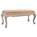 International Caravan 3985-AW Carved Wood Occasional Bench, Antique White