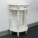 International Caravan 3989-AW Carved Small 1/2 Moon 2-Tier Wall Table, Antique White