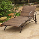 International Caravan Valencia Resin Wicker Steel Multi-position Chaise Lounge