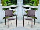 International Caravan Barcelona Set of Two Resin Wicker Square Back Dining Chair
