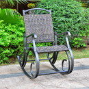 International Caravan 4404-RKR-DCF Ibiza Resin Pandan/Aluminum Rocking Chair - Dark Coffee