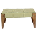 International Caravan Tuffed Sage Fabric Bench with Rustic Fringe