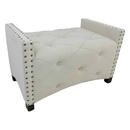 International Caravan Natural Rectangular Button Tuffed Upholstered Bench with Arms