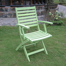 Acacia Folding S/2 Ladder Back Armchair with Mint Green Finish