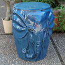 International Caravan Navy Blue Wild Elephant Drum Ceramic Garden Stool