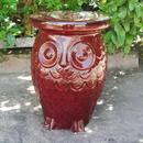 International Caravan Vintage Red Wise Old Owl Ceramic Garden Stool