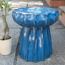 International Caravan  Navy Blue Round Scalloped Ceramic Garden Stool