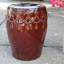 International Caravan Tasseled Drum Creamic Garden Stool