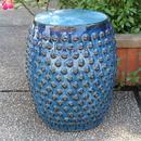 International Caravan Perforated Navy Blue Drum Ceramic Garden Stool