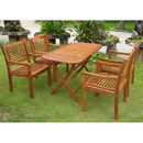 International Caravan RE-53-1B-51-4CH Royal Tahiti Sitges Set of Five Patio Set, Stain