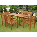 International Caravan REE-124-1B-051-6CH Royal Tahiti Cervera Rectangular Dining Set, Stain