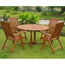 International Caravan RT-005-PC-041-4CH Turuel Royal Tahiti Round Dining Set, Stain
