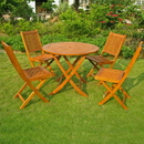International Caravan RT-029-VN-0128-4CH Royal Tahiti Marin 5-Piece Patio Dining Set, Stain
