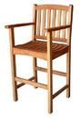 International Caravan TT-BC-003-2CH set of two Royal Tahiti Wood Bar Height Arm Chair, Brown Stain
