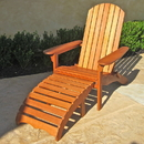 International Caravan TT-DC-010 Large Adirondack Chair with Footrest, Brown Stain