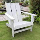 International Caravan Acacia Large Square Back Adirondack Chair with Antique White Finish