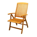International Caravan TT-PC-041-2CH set of two Royal Tahiti Outdoor 5-Position Folding Arm Chair, Brown Stain