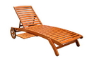International Caravan TT-SL-008 Royal Tahiti Outdoor Wood Chaise Lounge with Wheels, Brown Stain