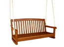 International Caravan TT-SW-006-2 Royal Tahiti Curved Back Wood Two Seated Swing, Brown Stain