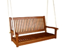 International Caravan TT-SW-007 Royal Tahiti Straight Back Wood Two Seated Swing, Brown Stain