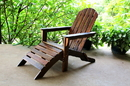 International Caravan VF-4105 Outdoor Adirondack Chair with Footrest, Brown