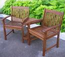 International Caravan VF-4113 Outdoor Wood Corner Double Chair, Brown
