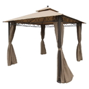International Caravan Square 10 Foot Double Vented Gazebo With Drapes