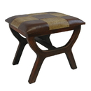 International Caravan YWLF-2138-MX Faux Leather Rectangular Wood Stool, Mixed Patch Work