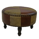 International Caravan YWLF-2523-MX Large Round Faux Leather Stool, Mixed Patch Work