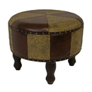 International Caravan YWLF-2524-MX Medium Faux Leather Round Stool, Mixed Patch Work