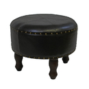 International Caravan Medium Faux Leather Round Stool