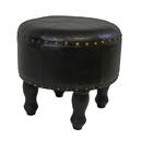 International Caravan Medium Round Faux Leather Stool